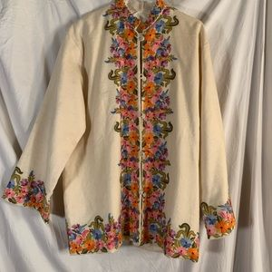 Vintage Floral Embroidered Wool Jacket
